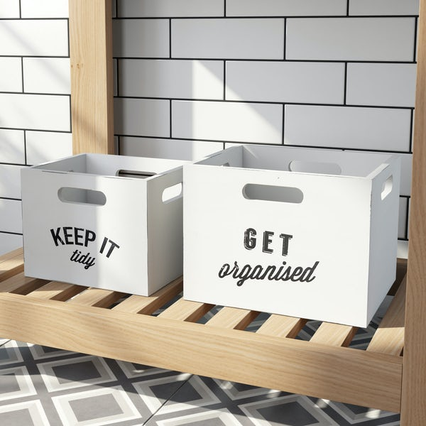 Manhattan distressed white storage boxes