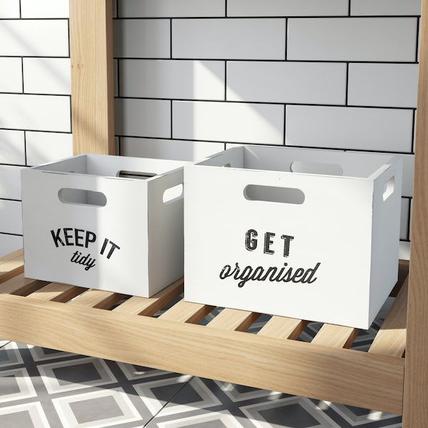 Manhattan distressed white storage boxes