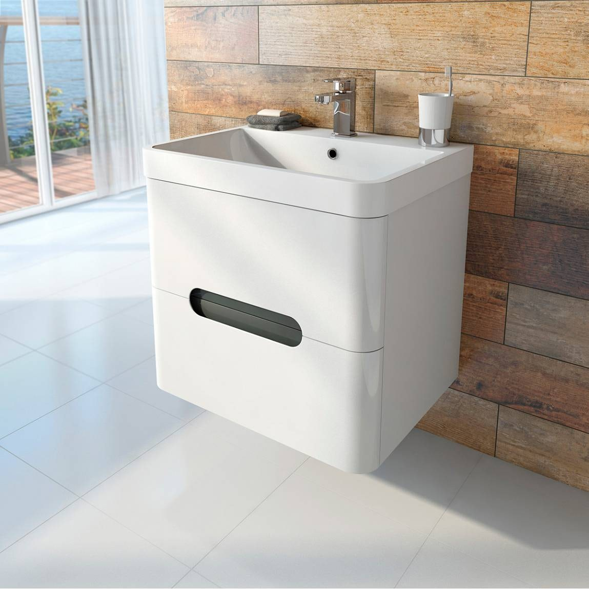 Planet Select White Wall Hung 600 Drawer Unit Amp Basin With