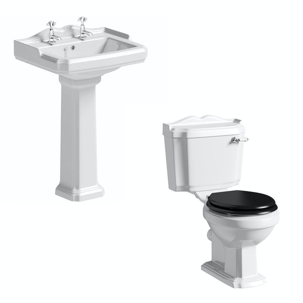 White Toilet With Black Seat. Winchester Toilet and Basin Suite with Black Seat  The Bath Co cloakroom suite black seat full