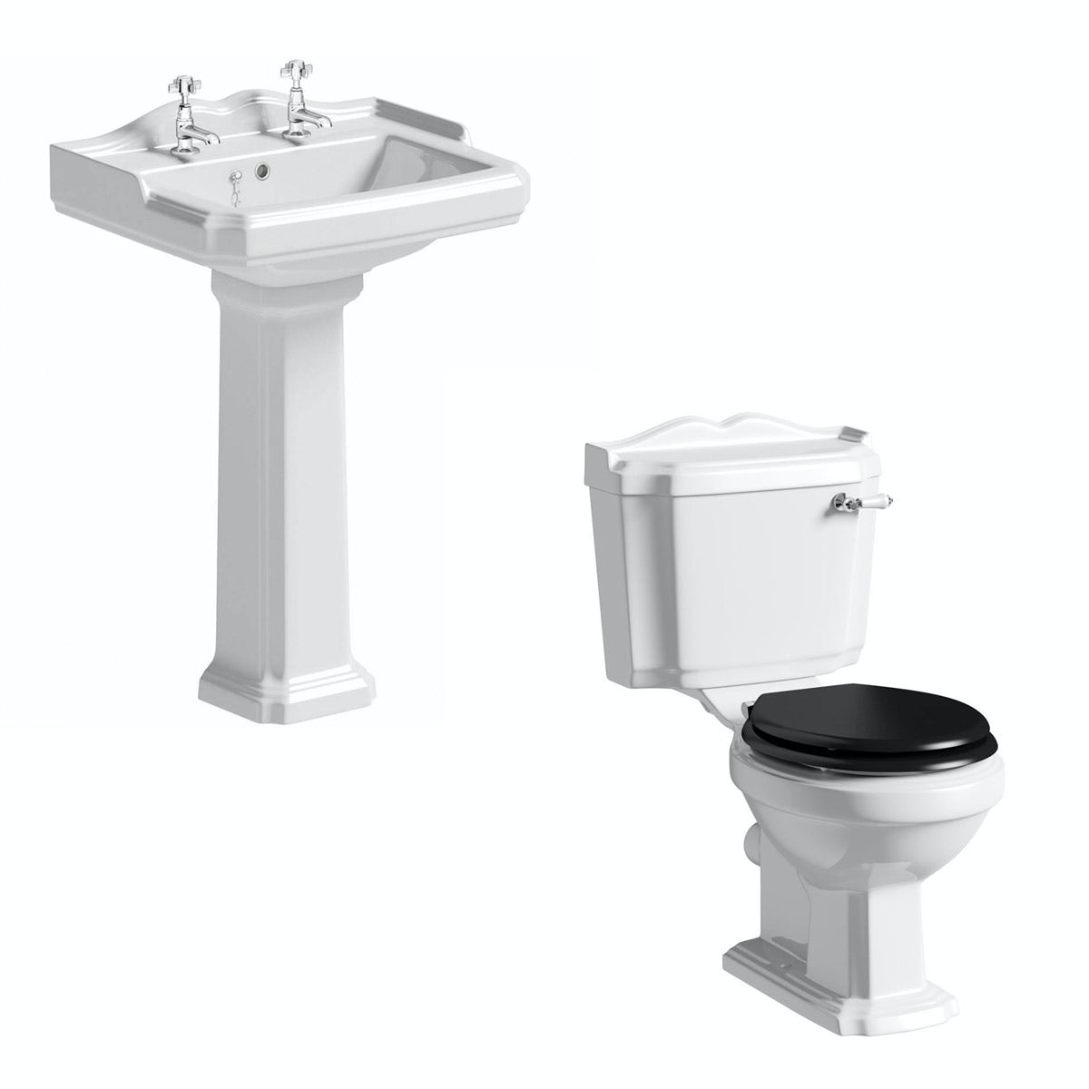 The Bath Co. Winchester cloakroom suite with black seat and full pedestal basin 600mm