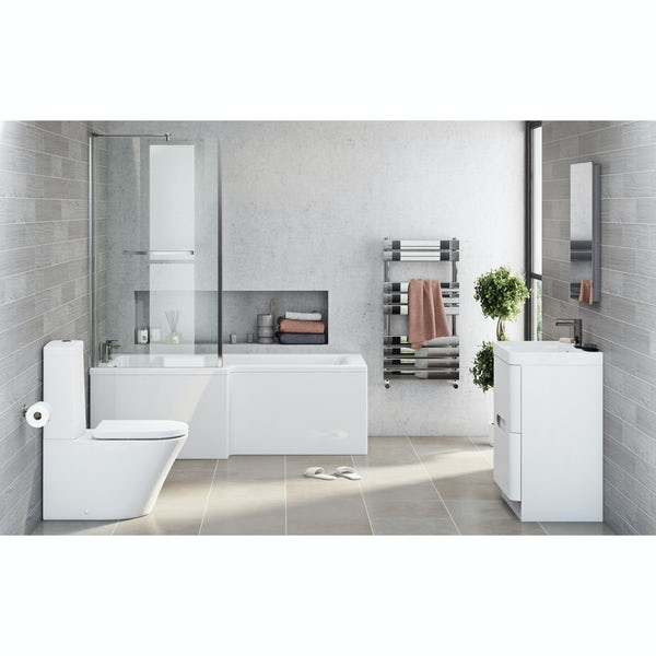 Mode Ellis left hand shower bath 1700 x 850 suite with Eden white floor drawer unit