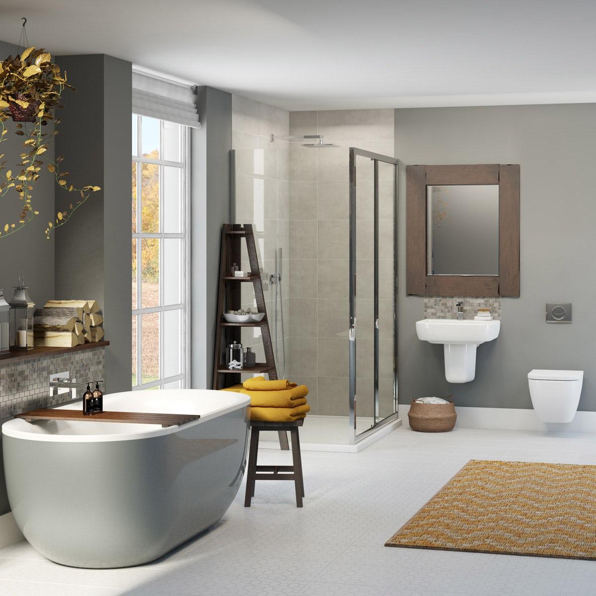 Bathroom suites with shower enclosures - Mode Ellis Storm Bathroom Suite With Shower Enclosure 1200 X 800 Victoriaplum Com