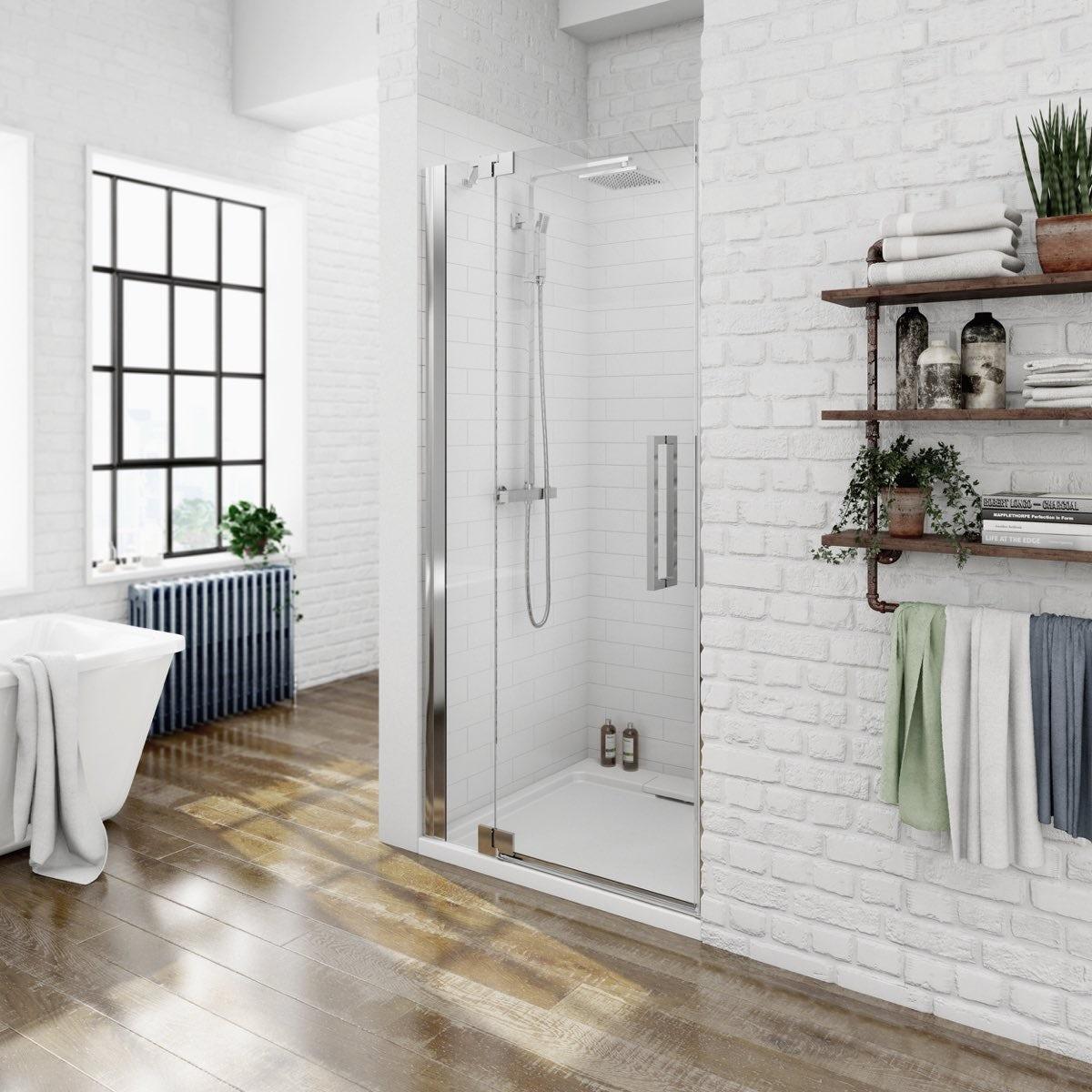 Mode luxury 8mm left handed frameless hinged shower door priced to clear v8 8mm frameless hinged shower door 760 lh vtopaller Gallery