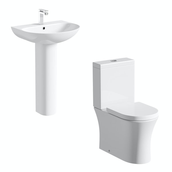 Mode Hardy close coupled toilet and full pedestal basin suite
