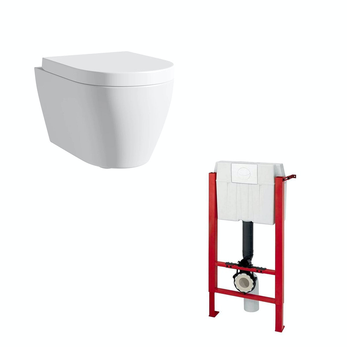 Mode Harrison wall hung toilet with soft close seat and mounting frame
