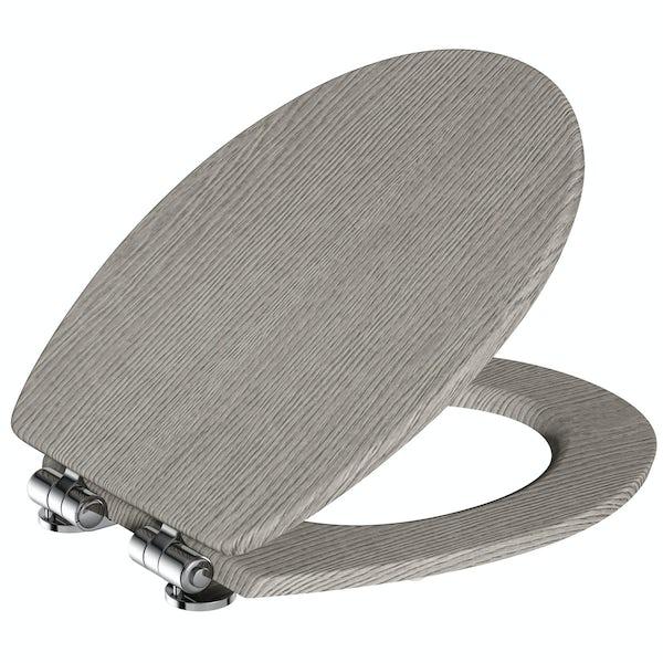 The Bath Co. traditional grey oak effect soft close seat