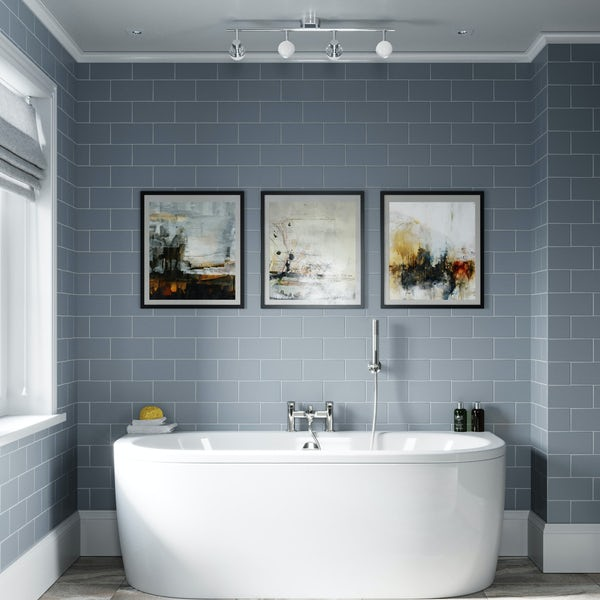 Orchard Elsdon D shaped double ended back to wall bath with panel