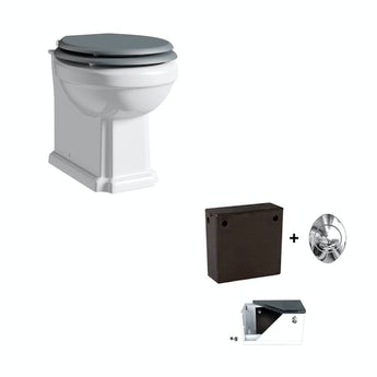 The Bath Co. Camberley back to wall toilet with grey soft close seat and concealed cistern