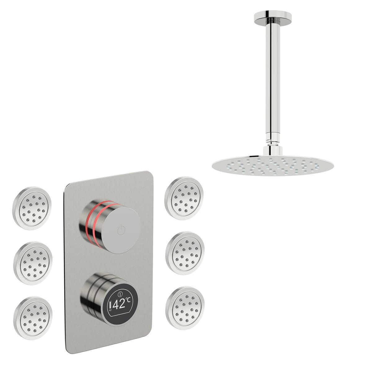 Mode Touch digital thermostatic shower valve with round body jets and shower head set