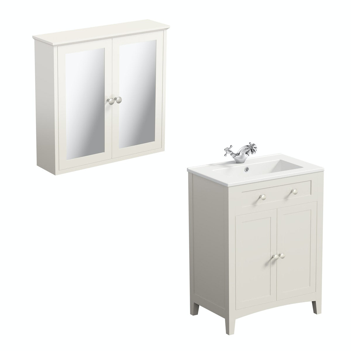 The Bath Co. Camberley ivory vanity unit with basin 600mm with mirror cabinet