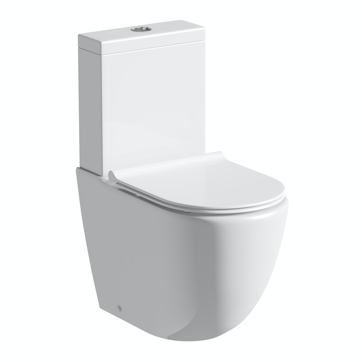 Mode Harrison rimless close coupled toilet with slimline soft close seat with pan connector