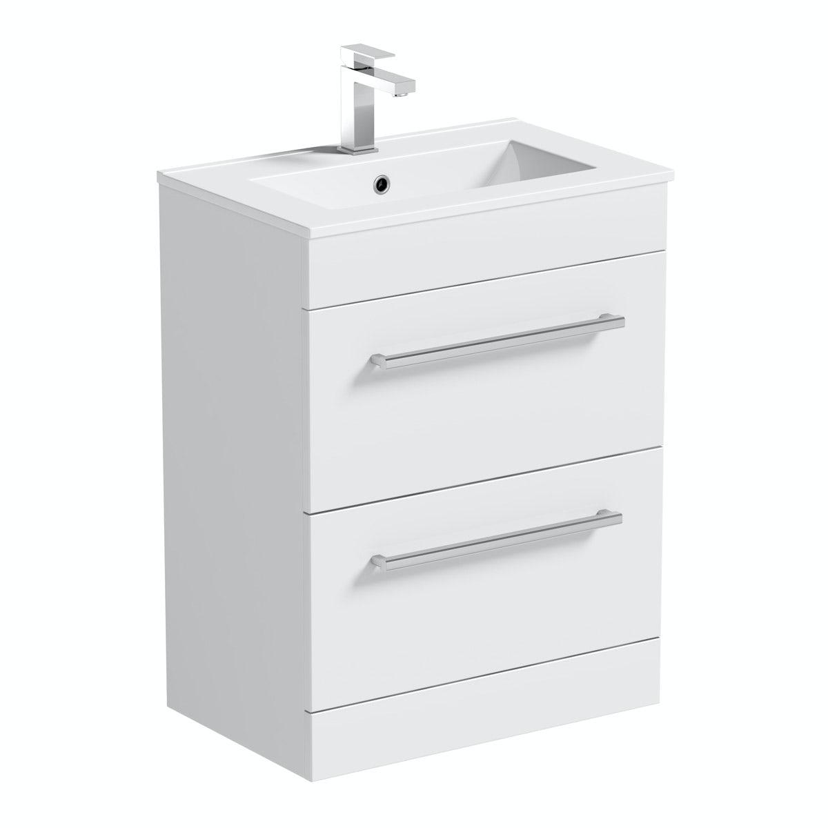 Orchard Derwent white vanity drawer unit and basin 600mm