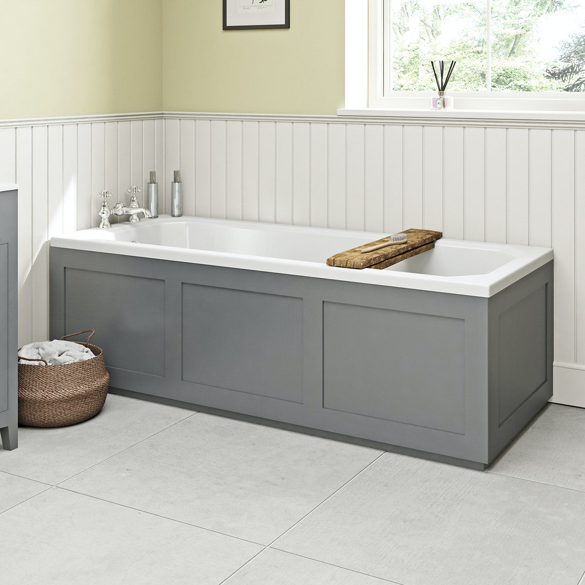 Grey And White Panelled Bathroom: The Bath Co. Camberley Satin Grey Wooden Straight Bath