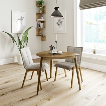 Ernest oak apartment table with 2 x Hadley beige dining chairs