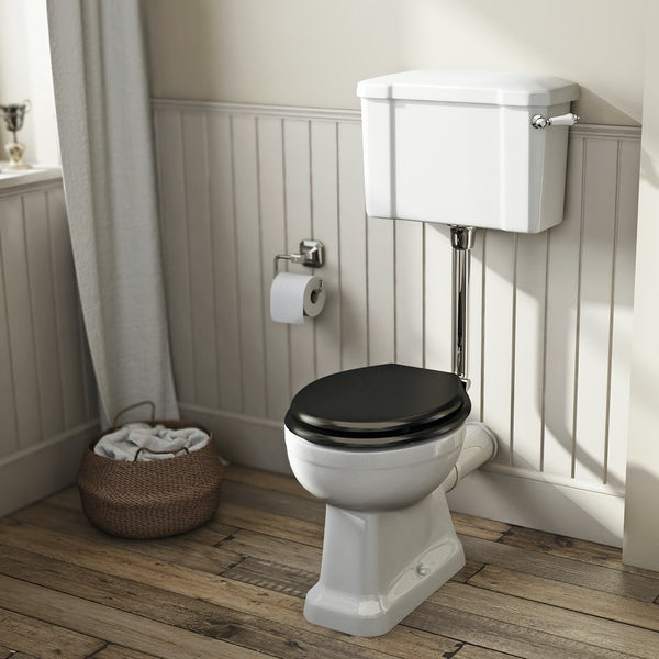 Camberley low level toilet with wooden soft close seat black