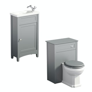 The Bath Co. Camberley satin grey cloakroom furniture suite