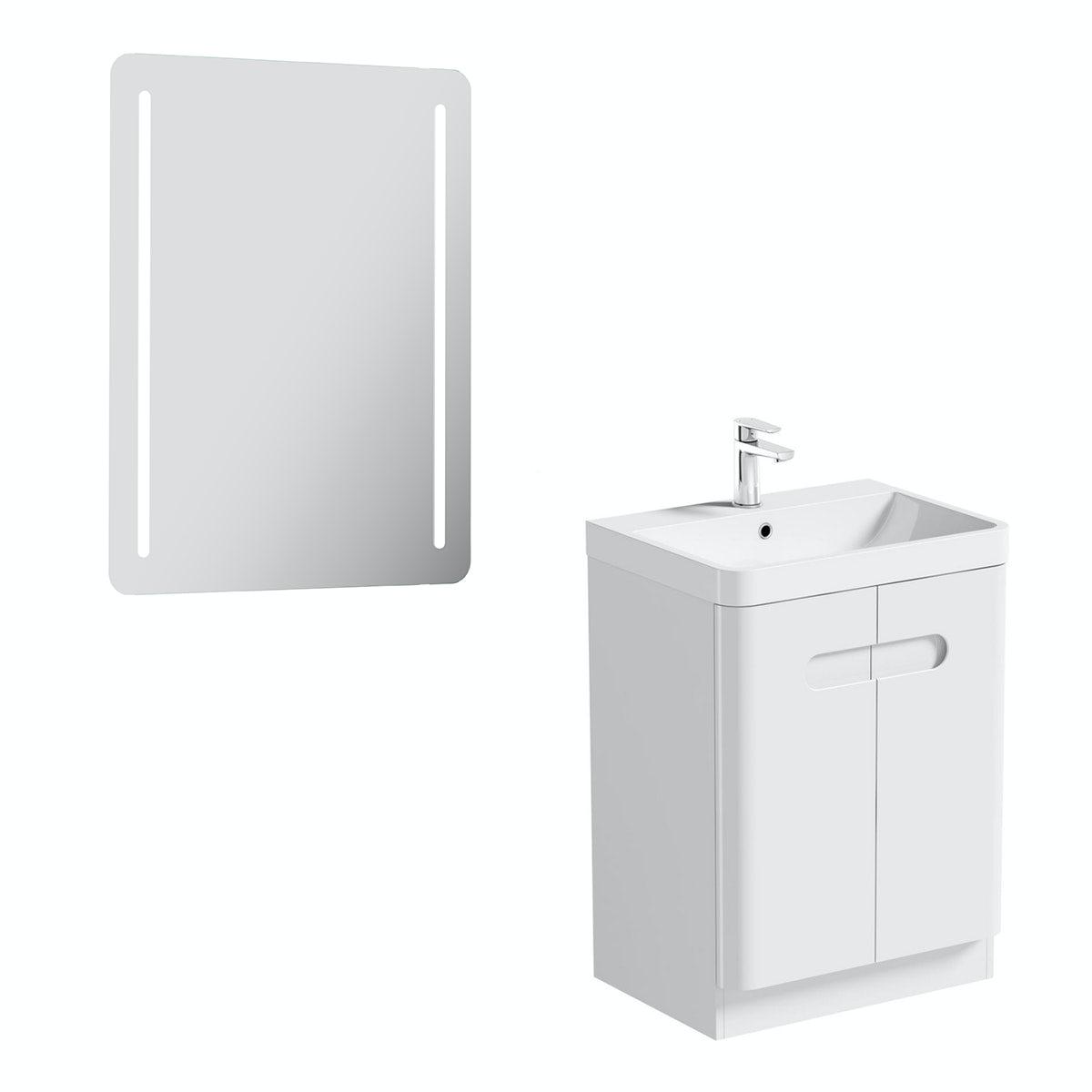 Mode Ellis white vanity door unit 600mm and mirror offer