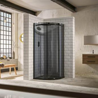Mode 8mm luxury black quadrant shower enclosure 900 x 900