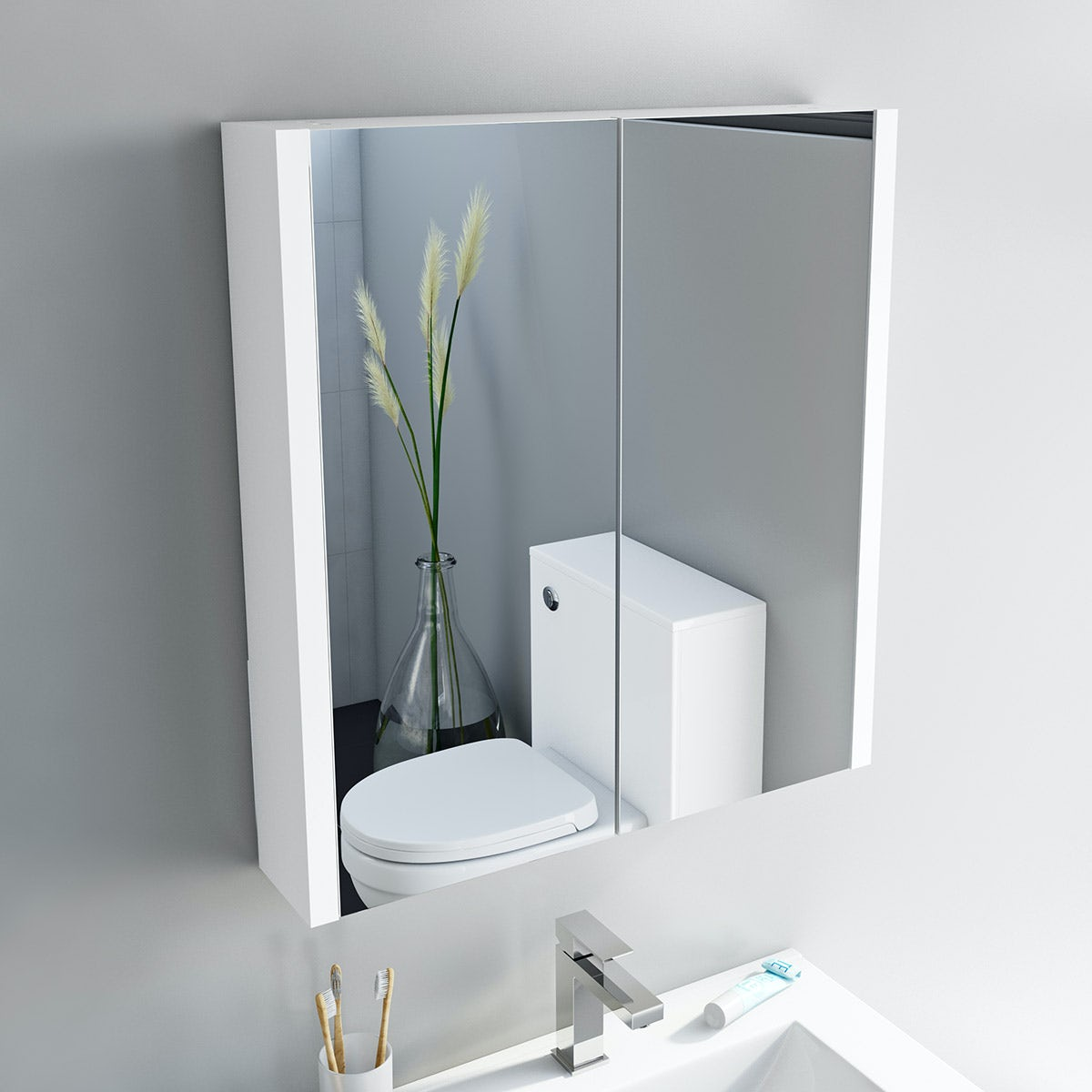 Orchard Derwent white 2 Door mirror cabinet | VictoriaPlum.com