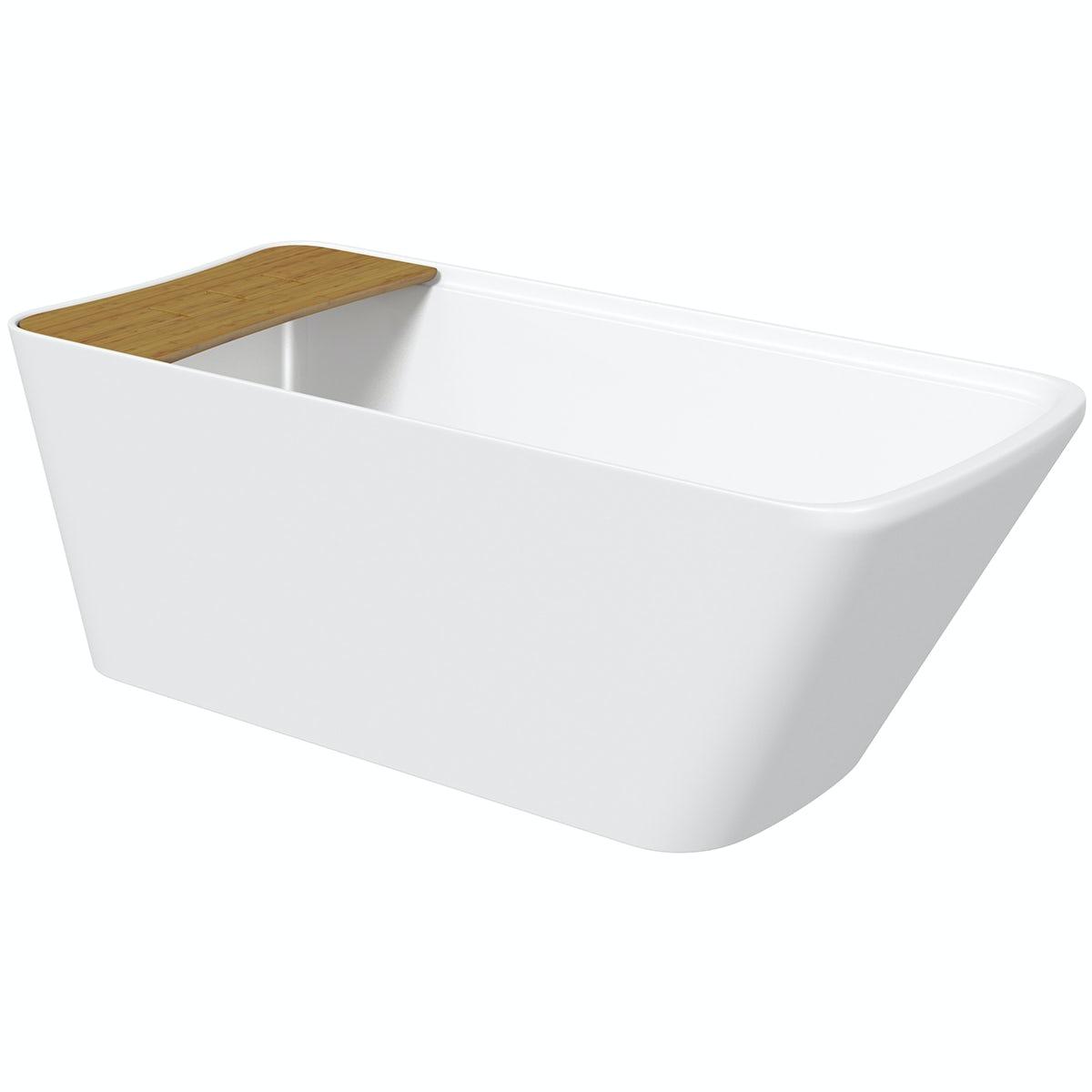 Mode Foster freestanding bath with bamboo bath bridge