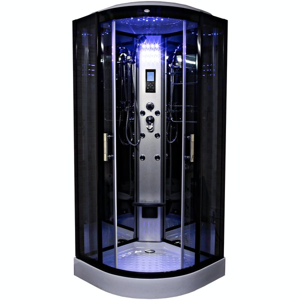Insignia black quadrant hydro-massage shower cabin 900 x 900