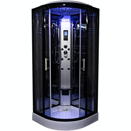 Insignia black quadrant hydro-massage shower cabin 900 x 900