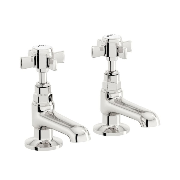 The Bath Co. Winchester bathroom suite with left handed P shaped shower bath and taps 1675 x 850
