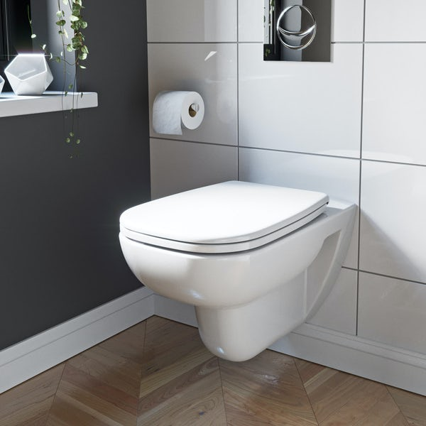 Duravit D-Code rimless wall hung toilet with soft close toilet seat