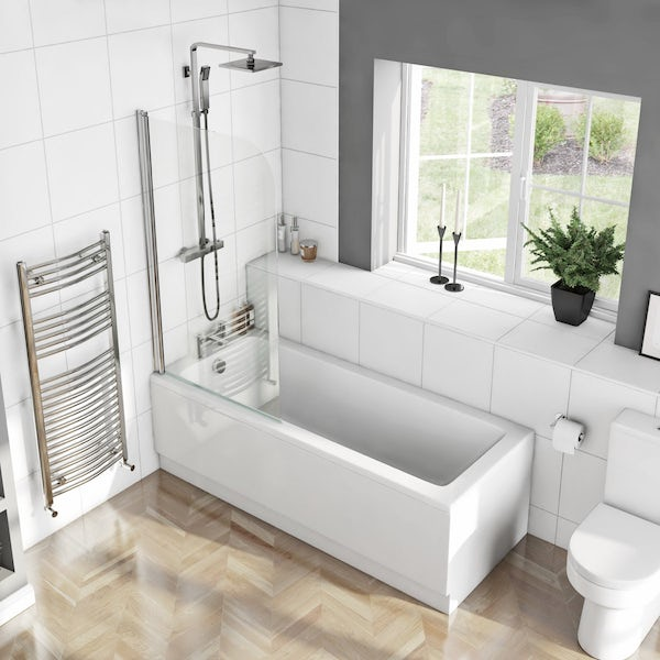 Eden square edge 1500 x 700 Shower Bath with Curved Single Screen