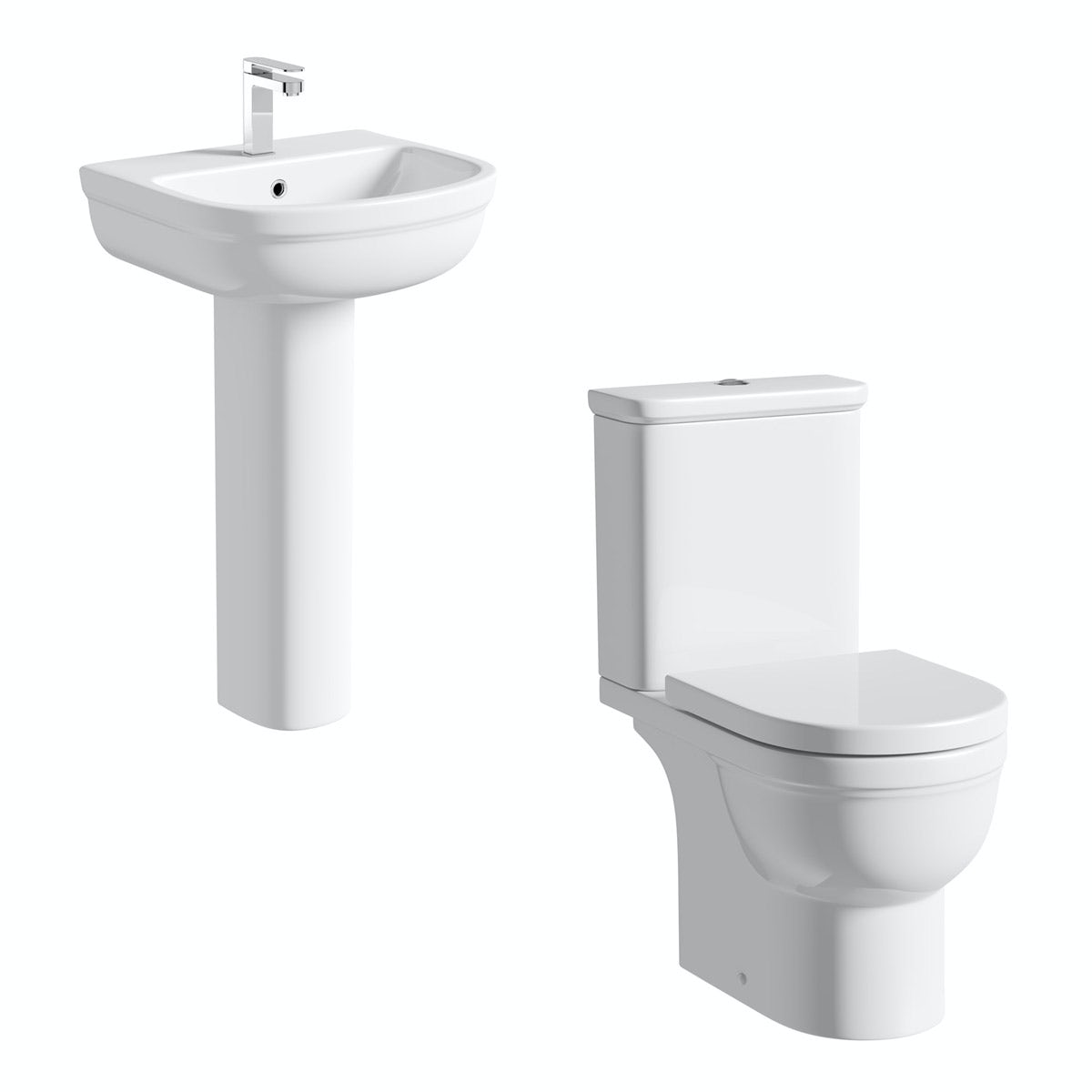 Deco Close Coupled Toilet and Full Pedestal Suite