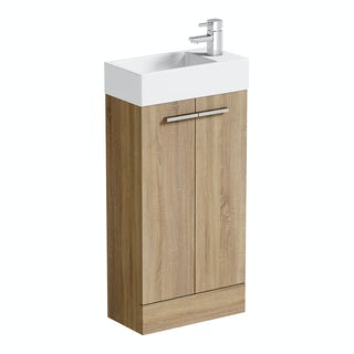Compact Oak Floorstanding Unit with Resin Basin