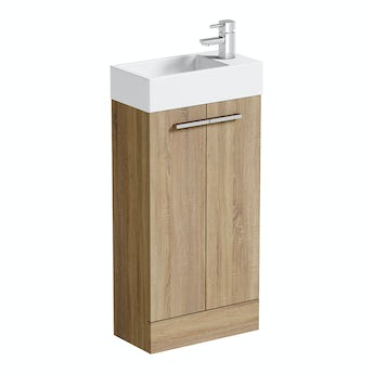 Oak cloakroom unit with basin 410mm