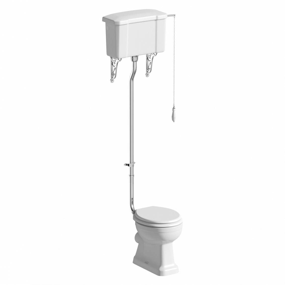 The Bath Co. Camberley high level toilet with wooden soft close seat white with pan connector