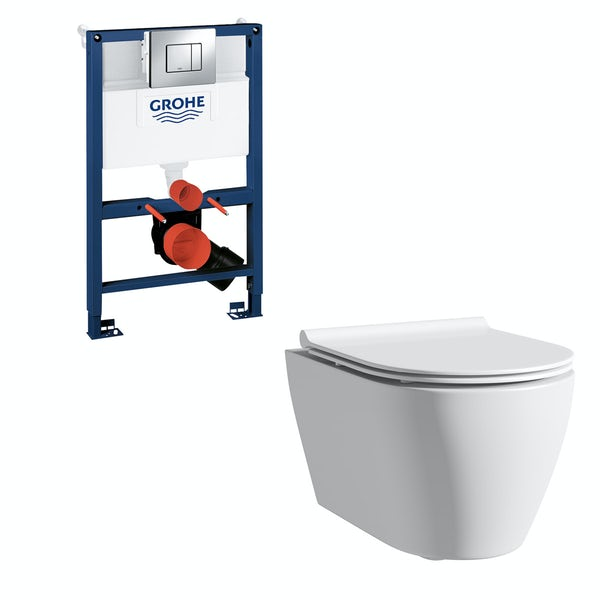 Mode Harrison wall hung toilet with slim seat, Grohe frame and Skate Cosmopolitan push plate 0.82m