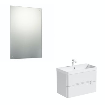 Mode Ellis white wall hung vanity unit 800mm and mirror offer