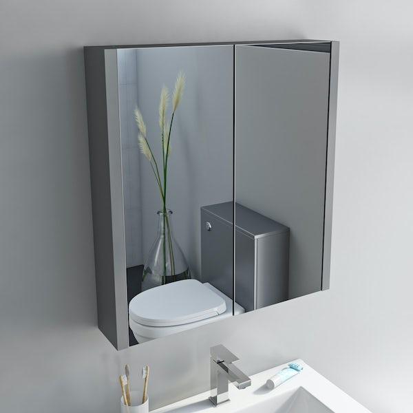 Orchard Derwent grey 2 door mirror cabinet 600mm