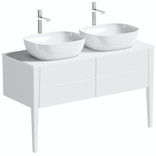 Mode Hale white gloss countertop double basin vanity unit 1200mm