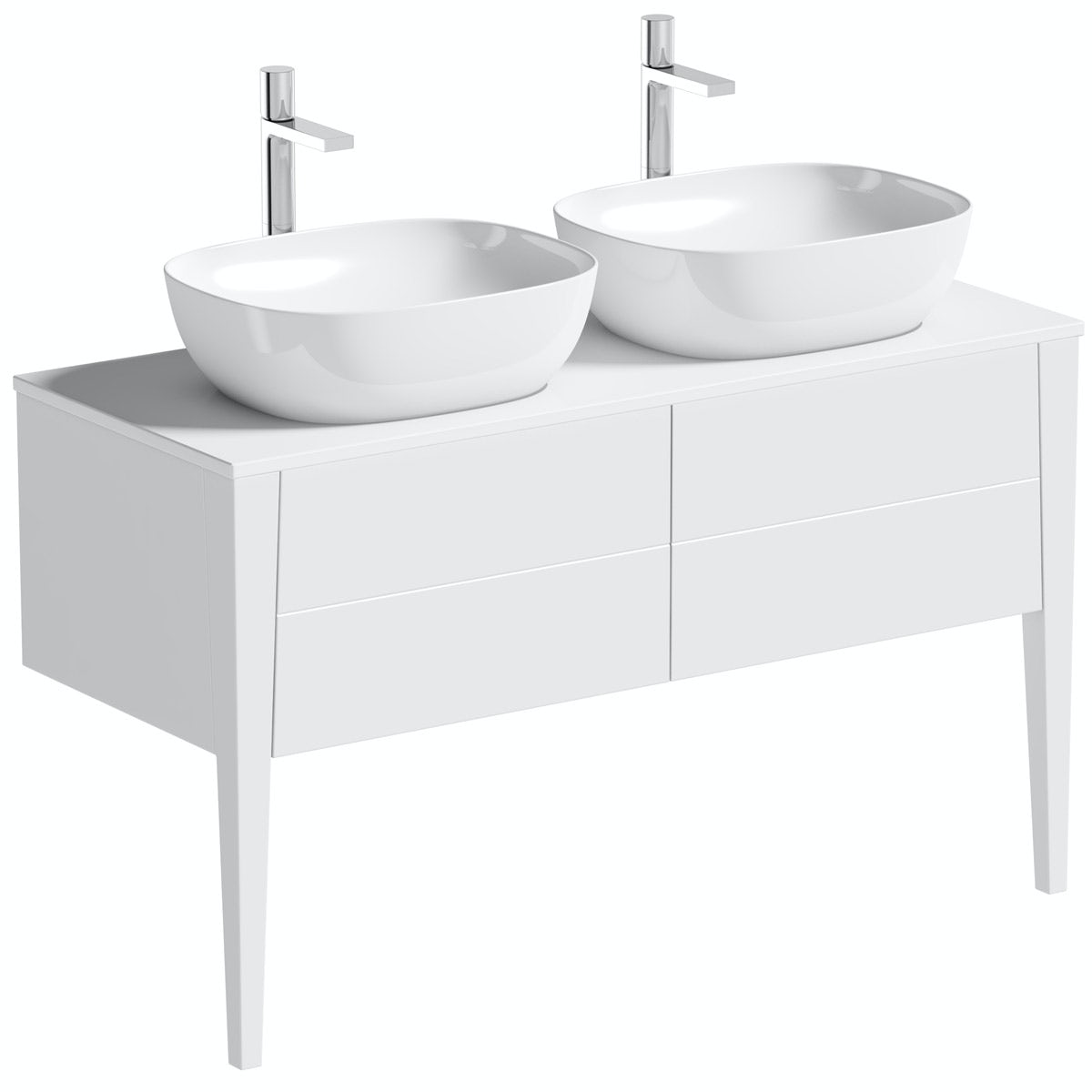 Mode Hale white gloss countertop double basin vanity unit 1200mm