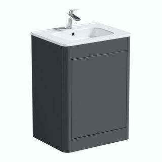 Carter Pebble Grey 600 Floor Mounted Vanity Unit with Basin