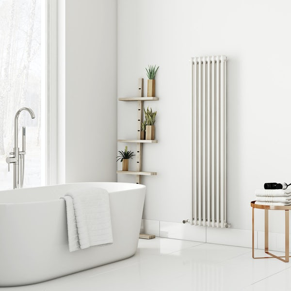 Dulwich vertical white double column radiator 1500 x 380