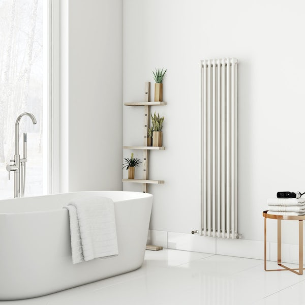 Dulwich vertical white double column radiator 1500 x 380