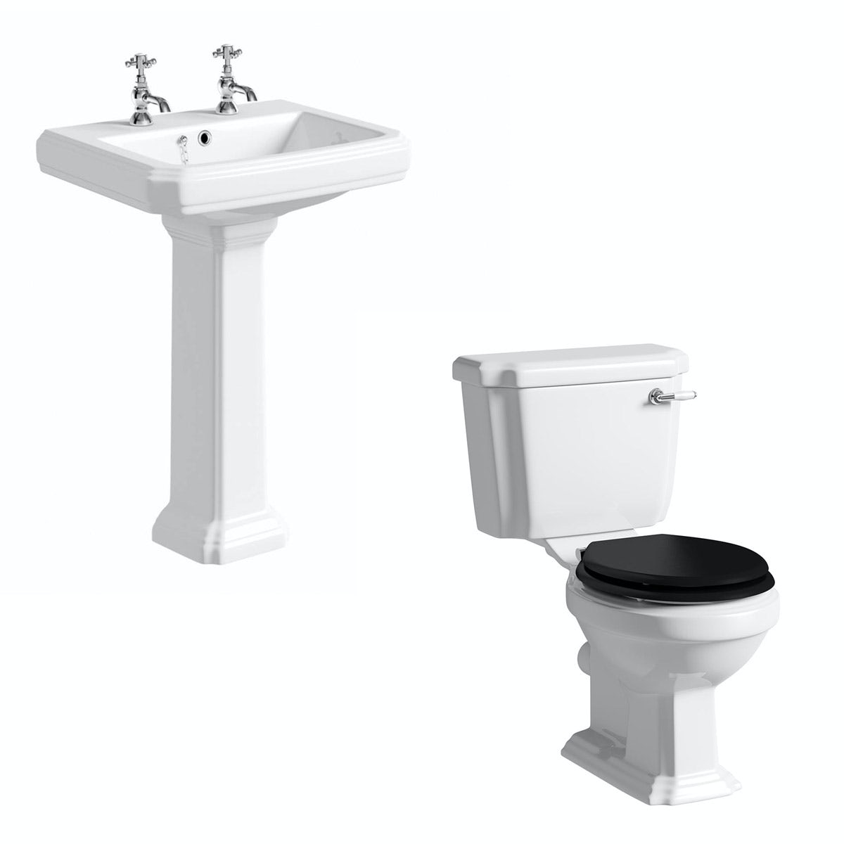 The Bath Co. Dulwich cloakroom suite with black seat and full pedestal basin 600mm
