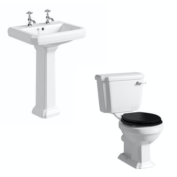 The Bath Co. Dulwich toilet suite with black seat and full pedestal basin 600mm