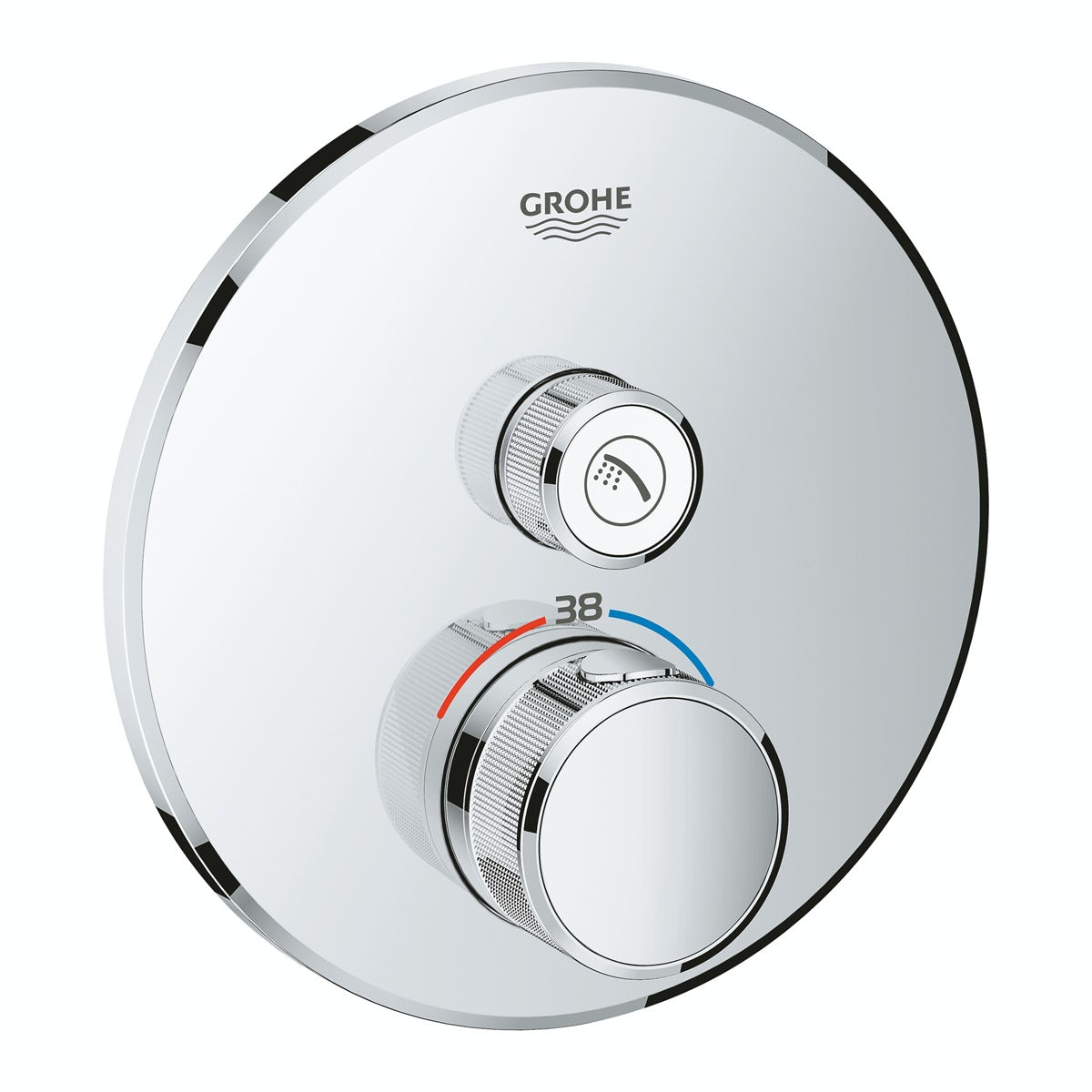 Grohe Grohtherm SmartControl round thermostatic concealed 1 way shower valve trimset