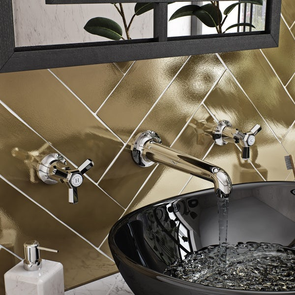 The Bath Co. Beaumont wall mounted basin mixer tap offer pack