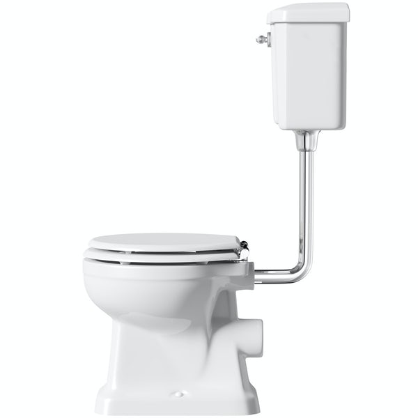 Camberley Low Level Toilet Including a White MDF Soft Close Seat