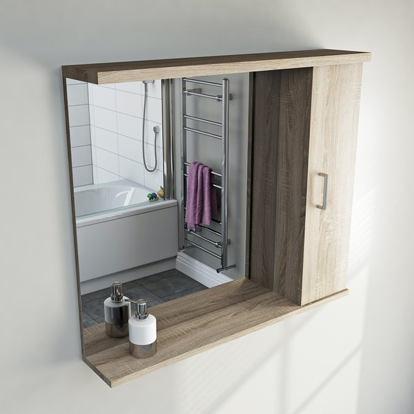 Sienna Oak 85 Mirror with lights