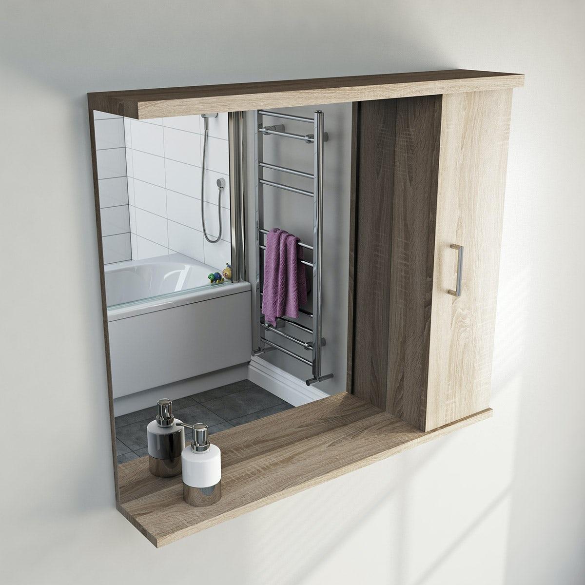 Sienna oak bathroom mirror with lights 850mm for Bathroom side mirror