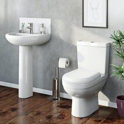 Como close coupled toilet suite with full pedestal basin 530mm